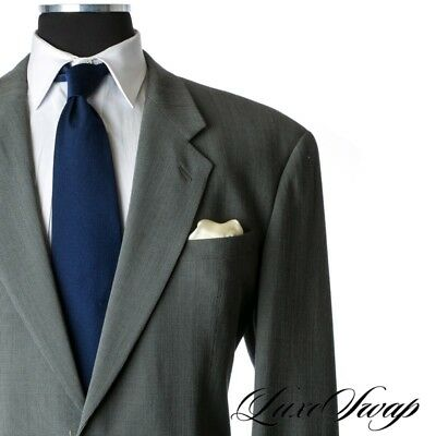 Armani Collezioni Made in Italy Greened Grey Crepe Textured Drape Suit 44 L NR