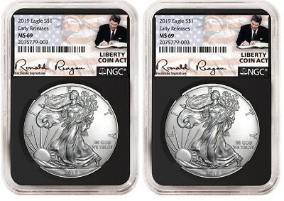 2019 1oz Silver Eagle NGC MS69 - ER Liberty A Coin Act Black Core 2 Pack PRESALE