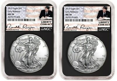 2019 1oz Silver Eagle NGC MS70 - ER Liberty A Coin Act Black Core 2 Pack