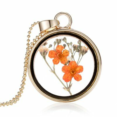 Natural Real Dried Double Flower Round Glass Floating Locket Pendant Necklace