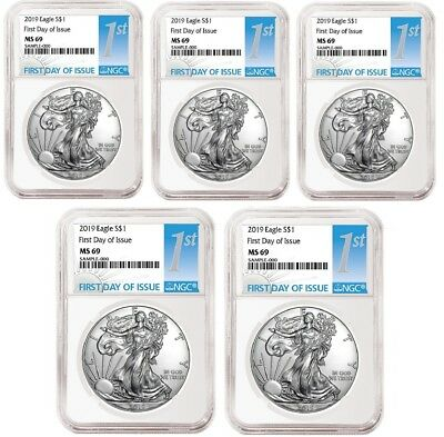 2019 1oz Silver Eagle NGC MS69 - First Day Issue - White Core - 5 Pack