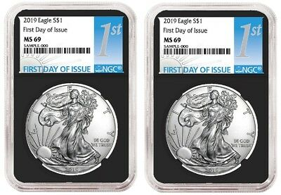 2019 1oz Silver Eagle NGC MS69 - First Day Issue - Black Core - 2 Pack