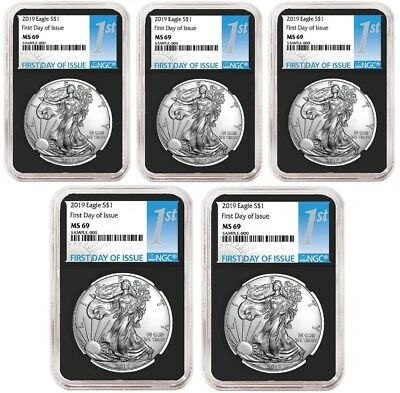 2019 1oz Silver Eagle NGC MS69 - First Day Issue - Black Core - 5 Pack