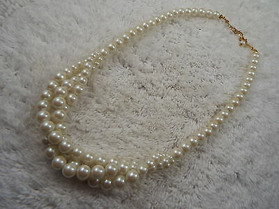 White Faux Pearl Bead Scoop Necklace (C13)