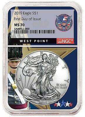 2019 1oz Silver Eagle NGC MS70 - First Day Issue - West Point Core