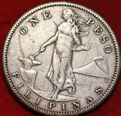 1908-S Philippines One Peso Silver Foreign Coin