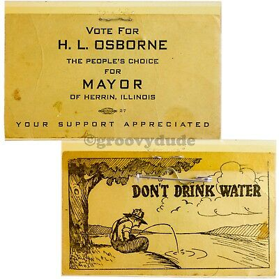 1961 Osborne For Mayor Herrin Illinois Independent Labor Party IL Campaign Pin