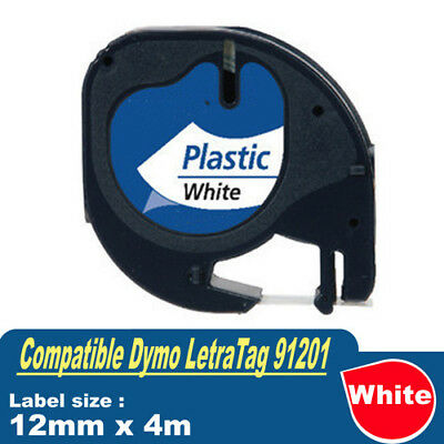 Compatible for Dymo 91201 91331 Label Tape LetraTag 12mm Plastic Black on White