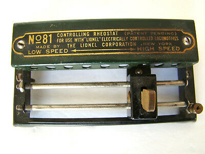 Lionel No. 81 Controlling Rheostat for Train Locomotive Pre War and Instructions