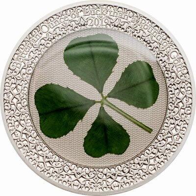 "Palau 2019 ""Luck One Oz"" Four Leaf Clover 5 Dollars 1oz Silver Coin,Proof"