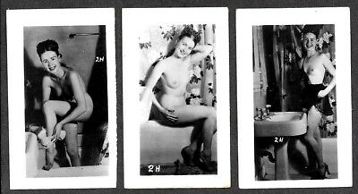3 Topless Women 1930's Snapshot Risque Photos