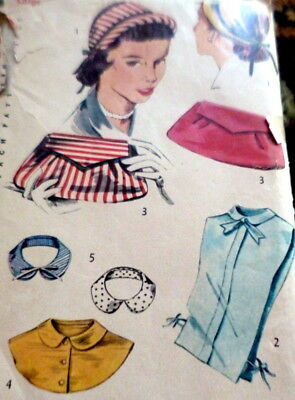 LOVELY VTG 1950s HAT BAG COLLARS DICKIE Sewing Pattern LARGE