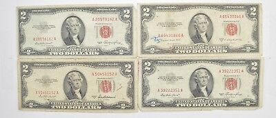 Lot (4) Red Seal $2.00 US 1953 or 1963 Notes - Currency Collection *472