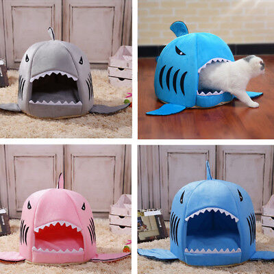 Shark Pet Basket Bed House Cosy Cat Puppy Dog Sleeping Kennel Soft Igloo Mat Pad