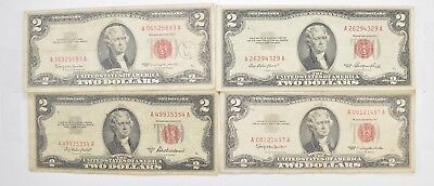 Lot (4) Red Seal $2.00 US 1953 or 1963 Notes - Currency Collection *473