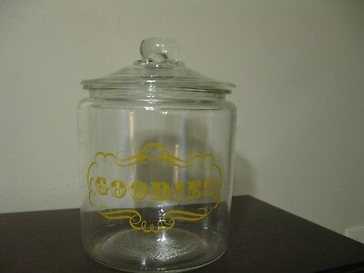 """Vintage Large Clear Glass Jar Container with Lid """"Goodies"""""""