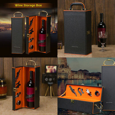 Polyurethane Leather Box Holder Wine Storage Carry Case Gift Black+Orange 5pcs