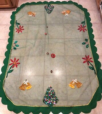"""Vintage Christmas Tablecloth Rectangle 72 x 56"""" Tulle Netting Felt Sequins"""