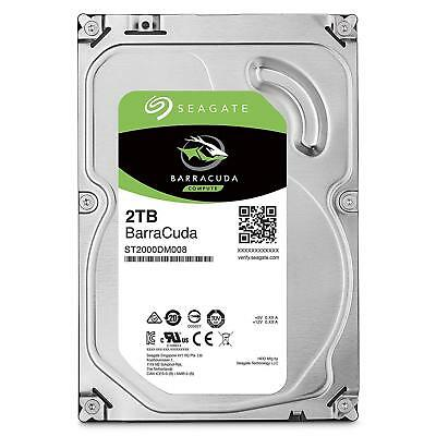 "2TB Seagate BarraCuda HDD 3.5"" SATA Internal Desktop Hard Drive 7200RPM 256MB"