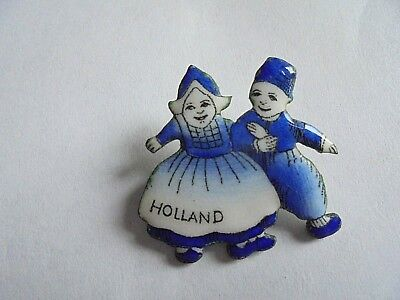 Vintage Holland Souvenir Blue and White Enamel Dutch Boy and Girl Pin