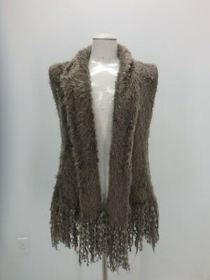 Knit Mink Faux Fur VEST Coat Jacket Small   Gray Women's 38854