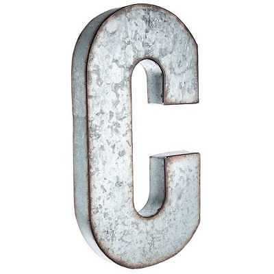 "Large 20"" Silver Galvanized Vintage Metal Letter & Marquee ""C"". Monogram."