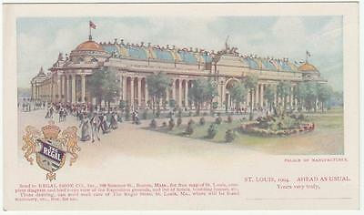 Louisiana Purchase Expo Post Card Unused Palace of Manufactures Regal Shoe Co.