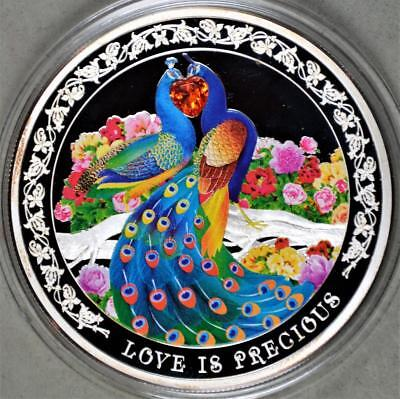 Niue 2015 2 Dollars 1 Ounce Silver Coin - Love is Precious with Cubic Zirconia