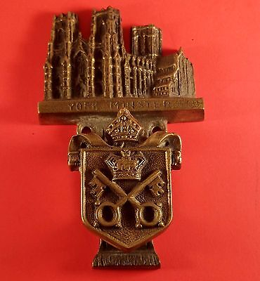 "Vintage Brass Door Knocker "" York Minster Building &  Crest RD Applied For"