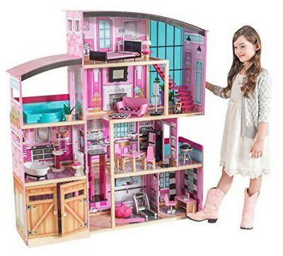 Barbie Size Dollhouse Furniture Playhouse Dream Play Wooden Doll House Gift
