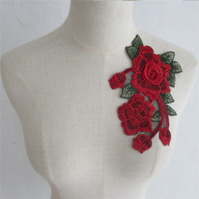 Flower Embroidered Applique Patches Badge Neckline Collar Lace Trim YL731