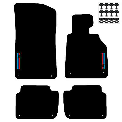 Tailored Carpet Car Floor Mats FOR BMW 3 Series e46 98 to 2007 with logo 8 Clips