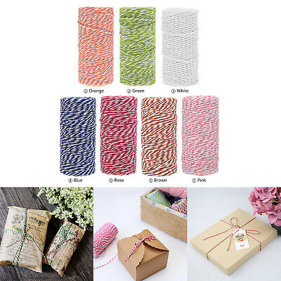 Cotton Cord Baker Coloured Twine Bundle String Ribbon Gift DIY Package Wrap 100m