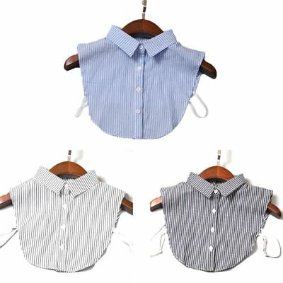 Women Detachable Dickey False Fake Collar Striped Lapel Shirt Clothes Accessory
