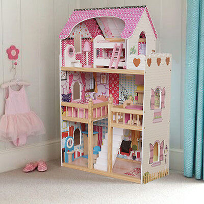 Wooden Dollhouse Large Barbie Play House with Furniture Accessories - 17PCS
