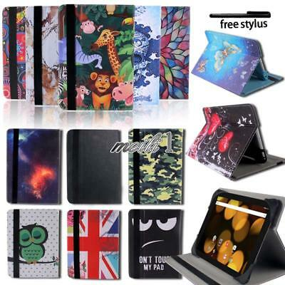 Folio Leather Rotating Stand Smart Cover Case For Argos Alba / Bush My Tablet