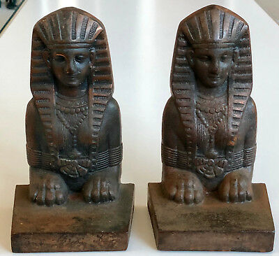 Antique BOOKENDS EGYPTIAN SPHINX PAIR SET BOOK ENDS PHARAOH souvenir building