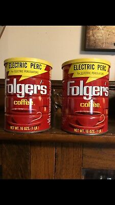 2 Vintage Folgers Electric Perc 16oz Tin Cans