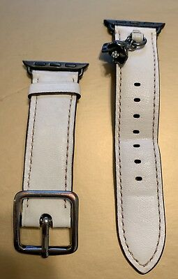Coach Apple Watch 38mm Band Strap with Tea Rose Charm Chalk W6133