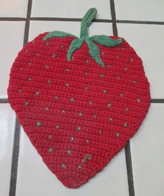 Vintage Strawberry Pot Holder Crocheted Knitted Red Fruit Hot Pads Trivet