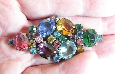 Vintage CZECH Multi coloured Stone Pin Brooch