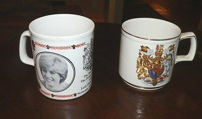 2 MUGS Prince Charles and Diana Marriage Smaller Wood & Sons Larger  Kiln Craft