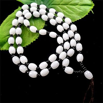 M20902  8x6mm 1set/24inch Beautiful white Jade column Loose bead