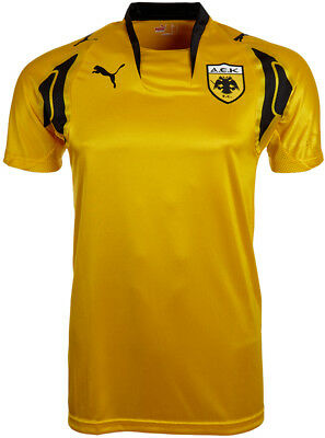 Puma AEK Athens Mens Short Sleeve Top Yellow Football T-Shirt Training