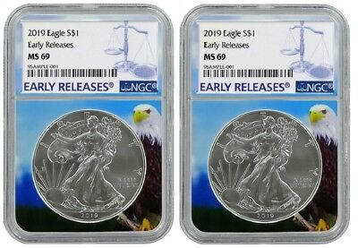 2019 1oz Silver Eagle NGC MS69 - Early Releases - Eagle Core 2 Pack PRESALE