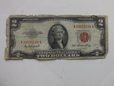 1953 $2 Two Dollar Bill Note Red Seal Star United States or America Currency