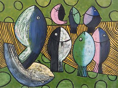 8 FISHES Peru Fine Art Orig Oil Painting by Novica