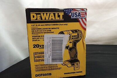 "Dewalt 1/4"" Impact Driver ( Tool Only)  New In Box. Model # Dcf885B"