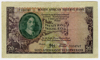 SOUTH AFRICA 1961 ISSUE 20 RAND BANKNOTE VERY SCARCE,CRISP VF+XF.PICK#108a.
