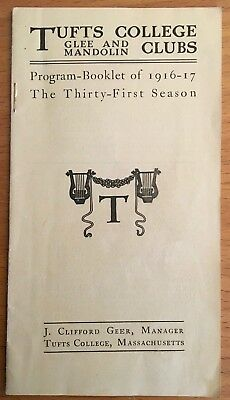 1917 TUFTS COLLEGE GLEE & MANDOLIN CLUBS Fight Song MEDFORD MA Tufts Music Clubs
